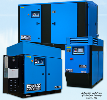 Kobelco Oil Free Rotary Screw Compressors 20 to 500 HP