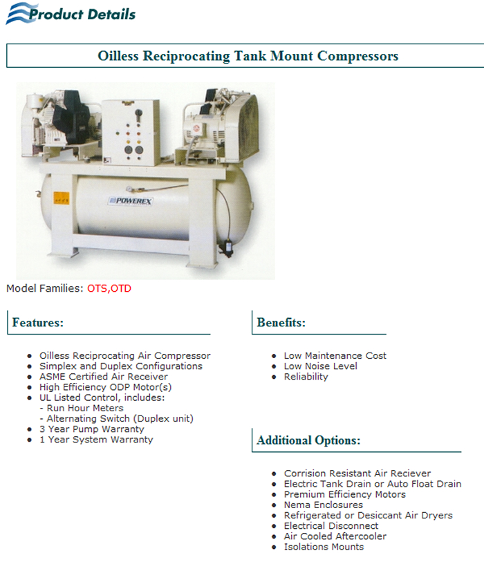 Oilless Reciprocating Tank Mount Compressors