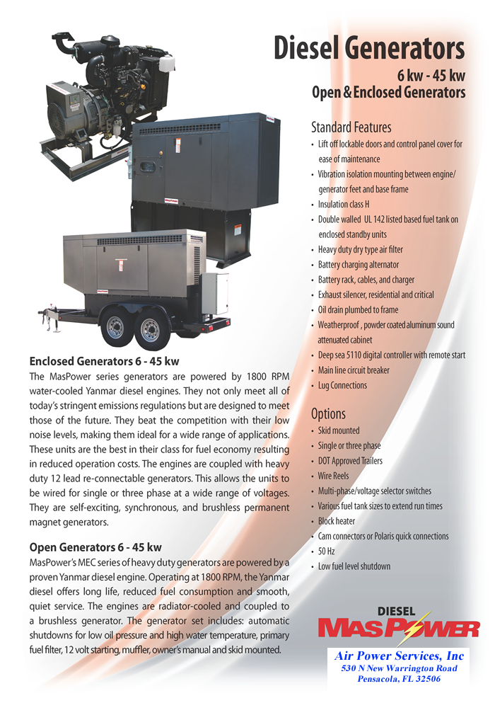 Diesel Generators Open and Enclosed